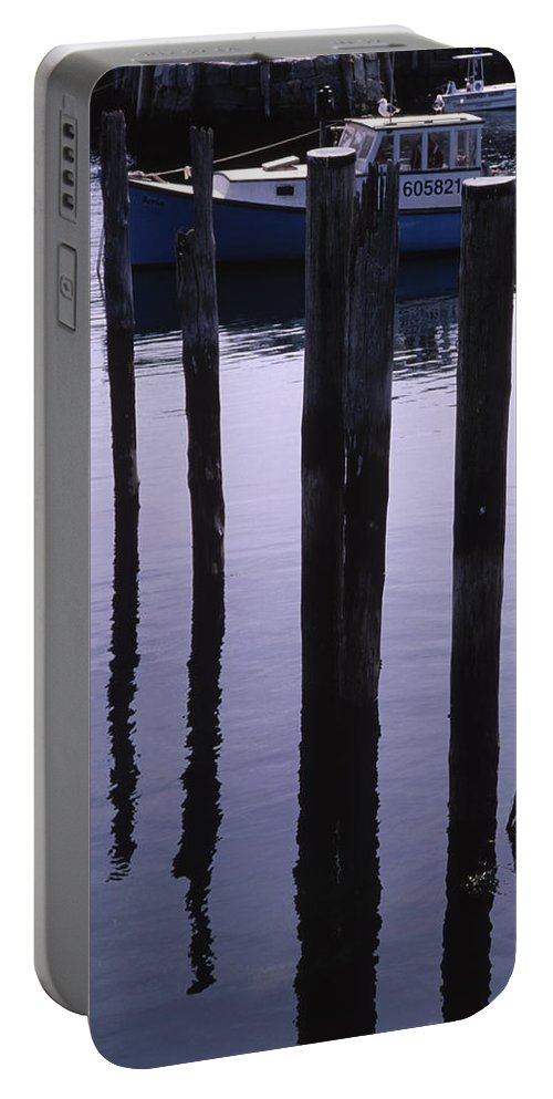 Landscape New England Fishing Boat Nautical Coast Portable Battery Charger featuring the photograph Cnrf0907 by Henry Butz