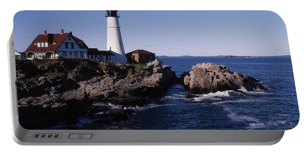 Landscape New England Lighthouse Nautical Coast Portable Battery Charger featuring the photograph Cnrf0910 by Henry Butz
