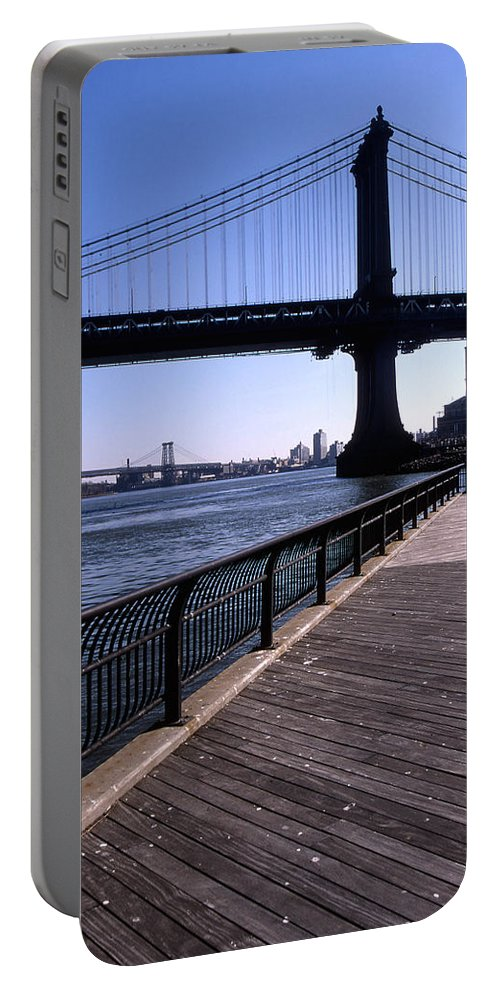 Landscape Manhattan Bridge New York City Portable Battery Charger featuring the photograph Cnrg0402 by Henry Butz