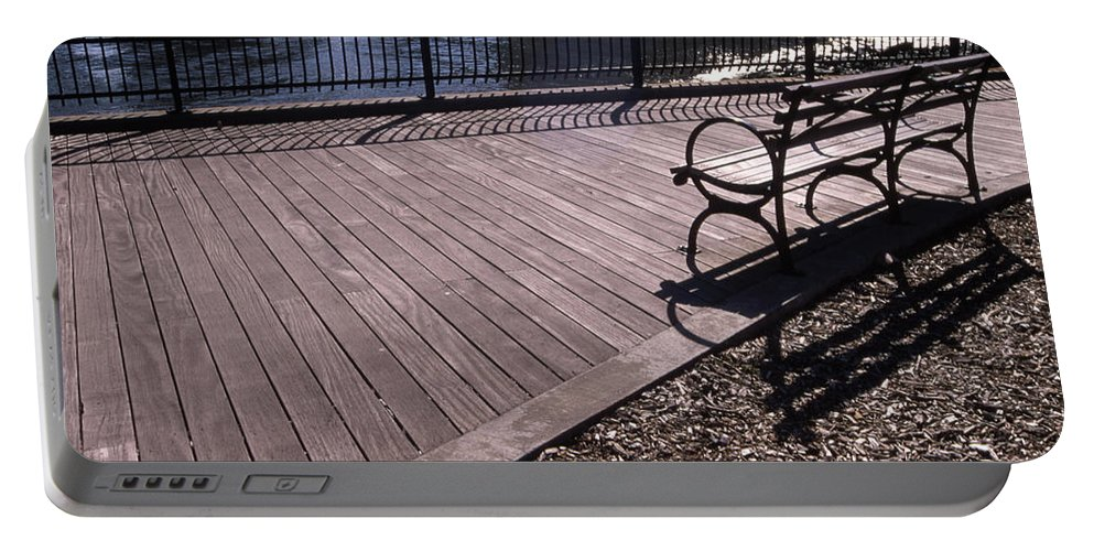 Manhattan Brooklyn Bridge Park Bench Portable Battery Charger featuring the photograph Cnrg0404 by Henry Butz
