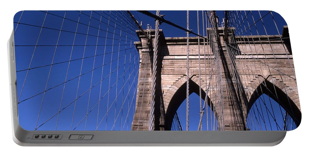 Landscape Brooklyn Bridge New York City Portable Battery Charger featuring the photograph Cnrg0406 by Henry Butz