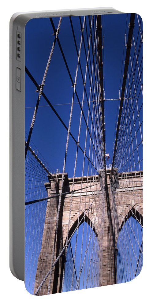 Landscape Brooklyn Bridge New York City Portable Battery Charger featuring the photograph Cnrg0407 by Henry Butz