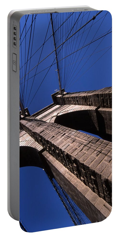Landscape Brooklyn Bridge New York City Portable Battery Charger featuring the photograph Cnrg0408 by Henry Butz