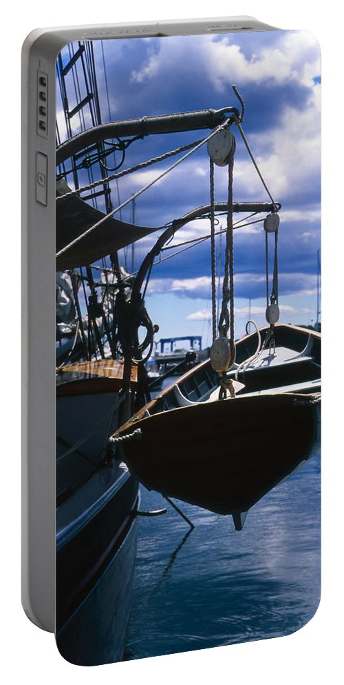 Landscape Camden Harbor Maine Sail Boat Harbor Nautical Portable Battery Charger featuring the photograph Cnrh0601 by Henry Butz