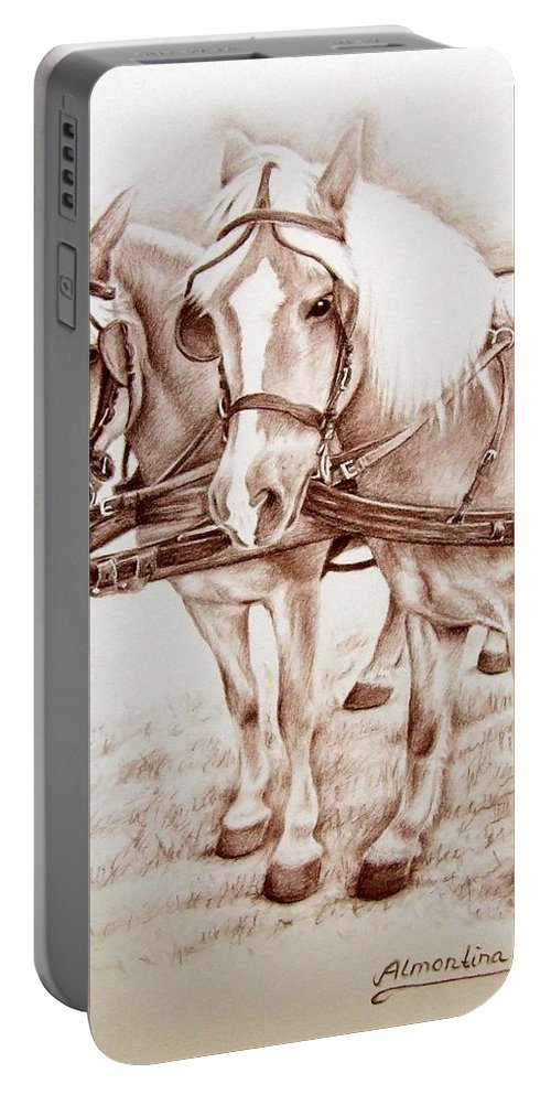 Horses Portable Battery Charger featuring the drawing Coach Horses by Nicole Zeug