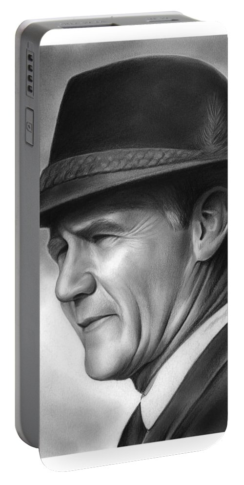 Football Portable Battery Charger featuring the drawing Coach Tom Landry by Greg Joens