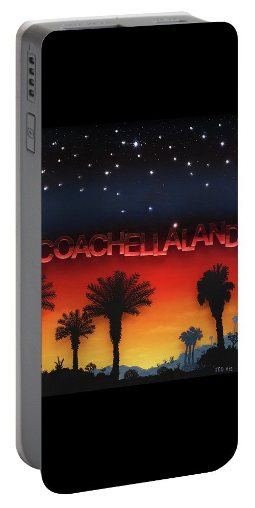 Land/skyscape Portable Battery Charger featuring the painting Coachellaland by Jon Carroll Otterson