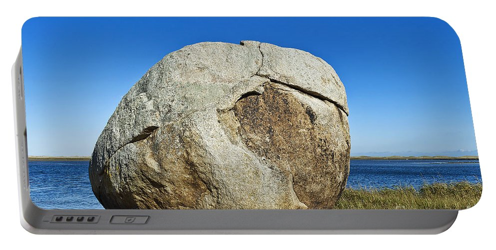 Beach Portable Battery Charger featuring the photograph Coastal Boulder by John Greim