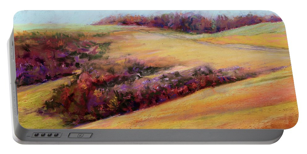 Fall Landscape Portable Battery Charger featuring the painting Coastal Hills by Jan Hardenburger