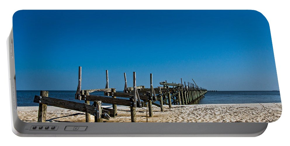 Pier Portable Battery Charger featuring the photograph Coastal Remains by Christopher Holmes