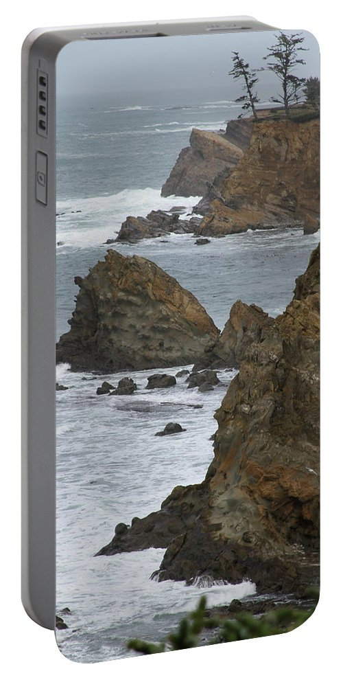 Rock Portable Battery Charger featuring the photograph Coastal Storm by Laddie Halupa