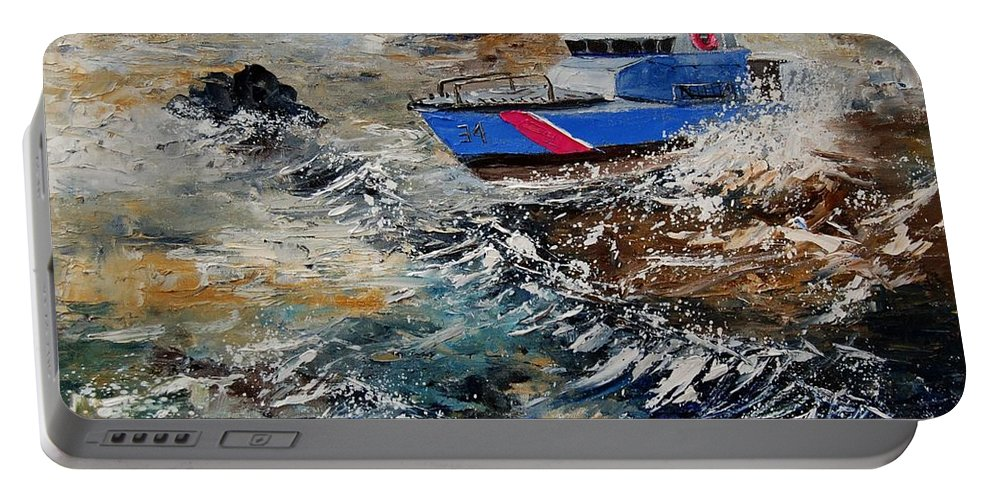Sea Portable Battery Charger featuring the painting Coastguards by Pol Ledent