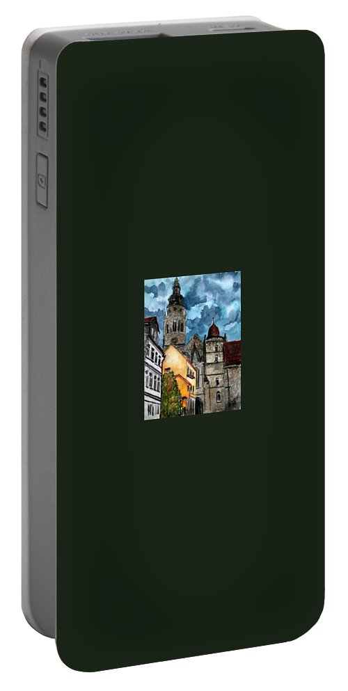 Germany Portable Battery Charger featuring the painting Coburg Germany Castle Painting Art Print by Derek Mccrea