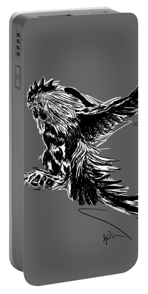 Fighting Cock Black White Chickens Portable Battery Charger featuring the digital art Cock Bw II Transparant by Sigrid Van Dort