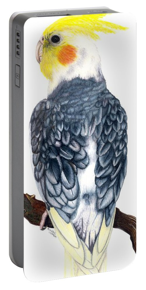 Cockatiel Portable Battery Charger featuring the drawing Cockatiel 1 by Kristen Wesch