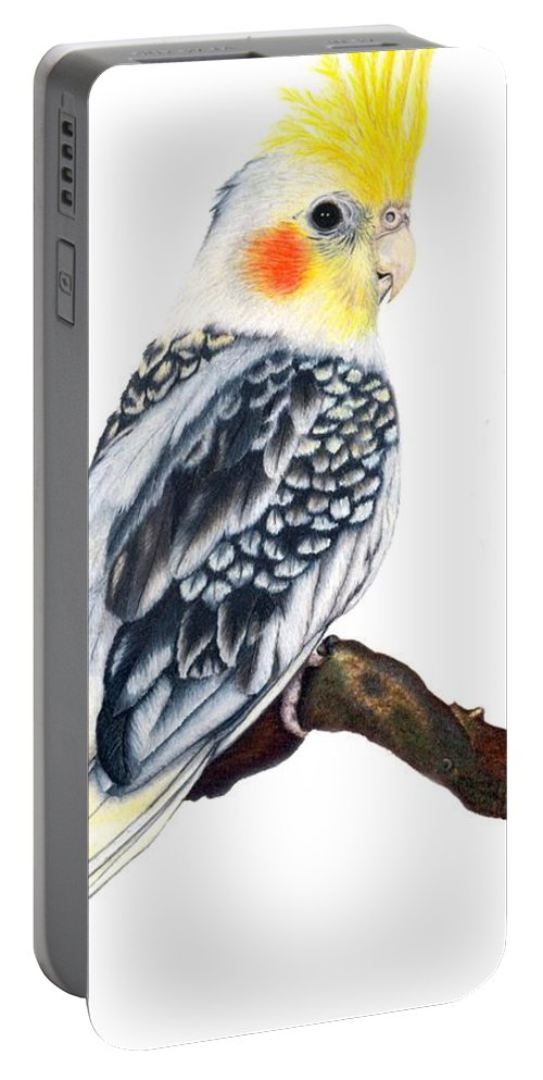 Cockatiel Portable Battery Charger featuring the drawing Cockatiel 2 by Kristen Wesch