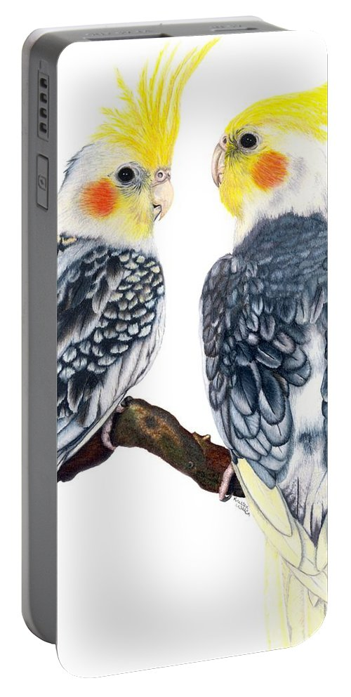 Cockatiel Portable Battery Charger featuring the drawing Cockatiels by Kristen Wesch