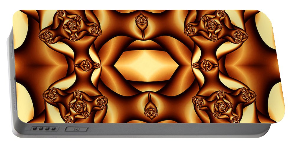 Clay Portable Battery Charger featuring the digital art Cocoa Fractal Roses by Clayton Bruster
