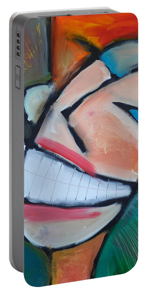 Smile Portable Battery Charger featuring the painting Coconut Bread by Tim Nyberg