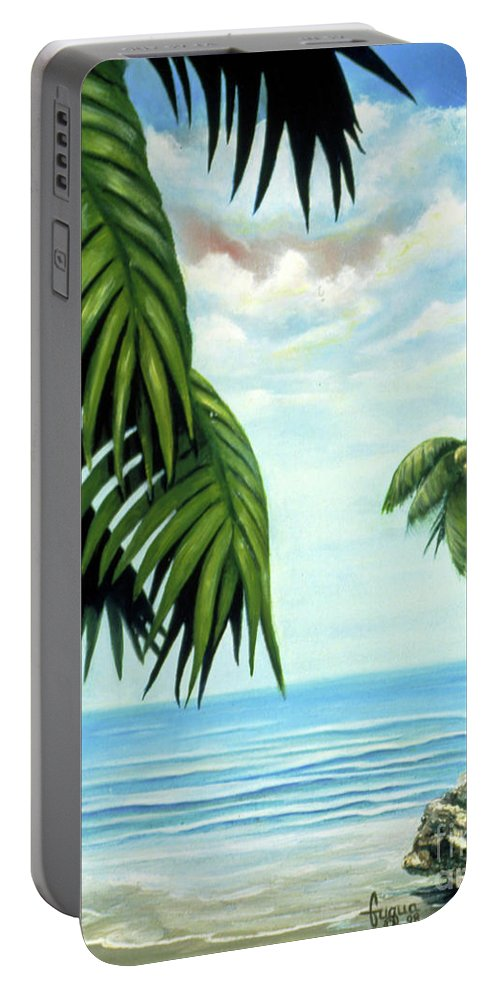 Beverly-fuqua Artwork Portable Battery Charger featuring the painting Coconut Cove by Beverly Fuqua