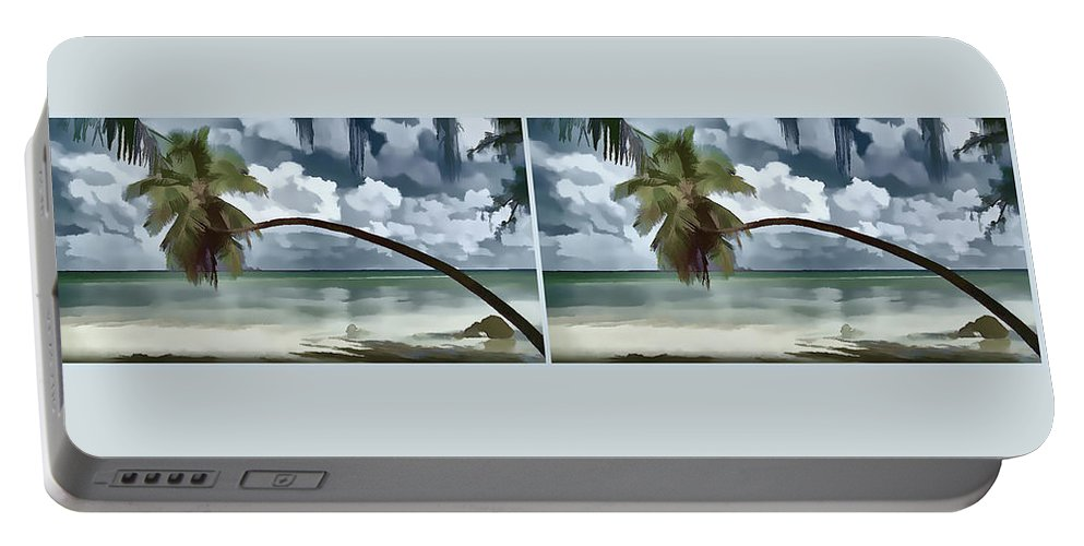 Coconut Tree Portable Battery Charger featuring the painting Coconut Tree by Jeelan Clark