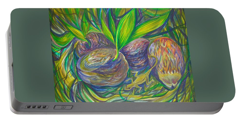Tropics Portable Battery Charger featuring the painting Coconuts by Anna Duyunova