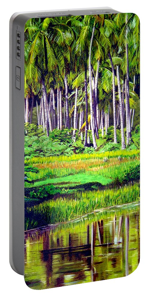 Coconuts Water River Green Art Tropical Portable Battery Charger featuring the painting Coconuts Trees by Jose Manuel Abraham