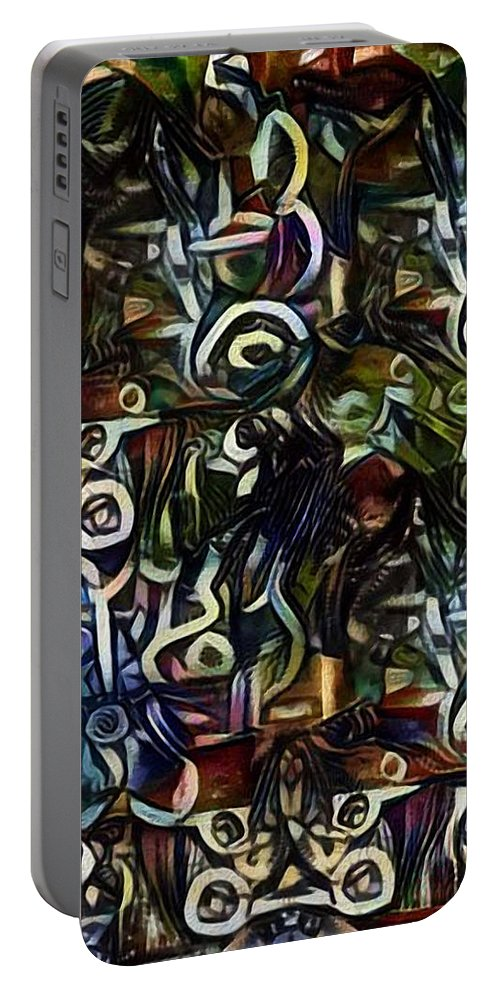 Colorful Portable Battery Charger featuring the digital art Coctails At Five by Mike Butler