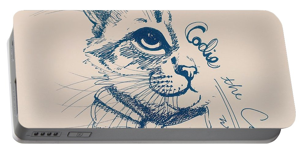 Cat Portable Battery Charger featuring the drawing Codie, Wearing A Bow Tie by Pookie Pet Portraits