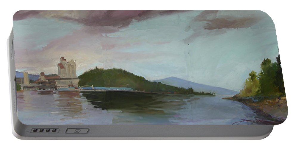 Coeur D' Alene Lake Portable Battery Charger featuring the painting Coeur D Alene Lake  North Idaho by Betty Jean Billups