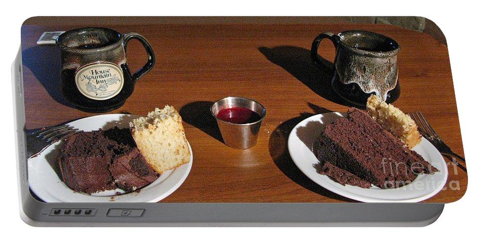Coffee Portable Battery Charger featuring the photograph Coffee And Chocolate Cake. Mountain House Inn by Ausra Huntington nee Paulauskaite