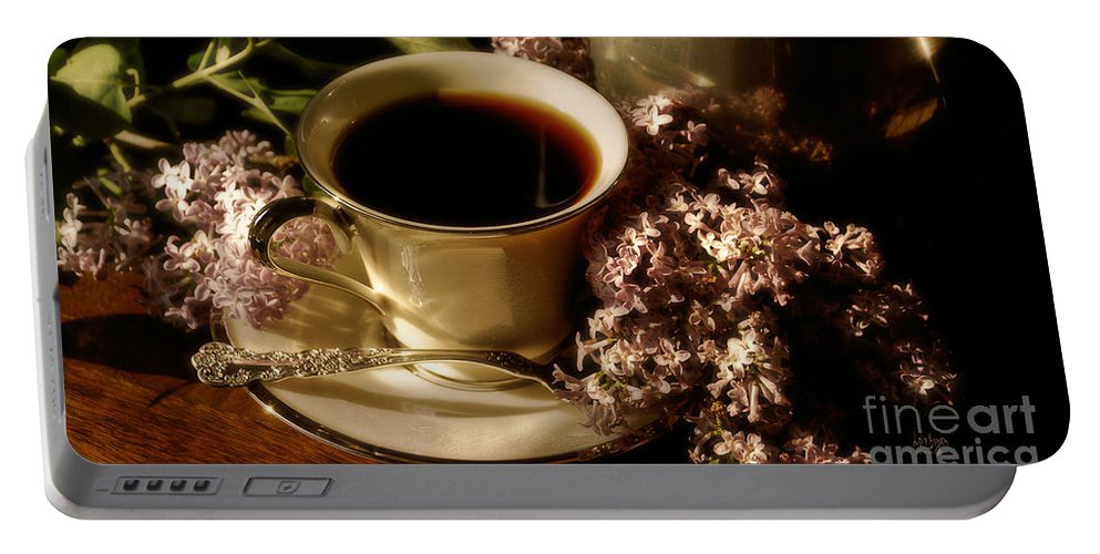 Coffee Portable Battery Charger featuring the photograph Coffee And Lilacs In The Morning by Lois Bryan