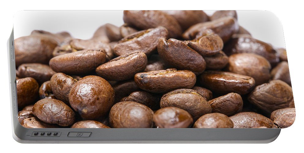 Coffee Portable Battery Charger featuring the photograph Coffee Beans Closeup by Donald Erickson