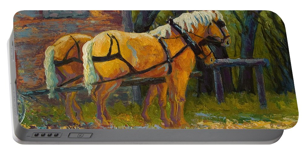 Horses Portable Battery Charger featuring the painting Coffee Break - Draft Horse Team by Marion Rose