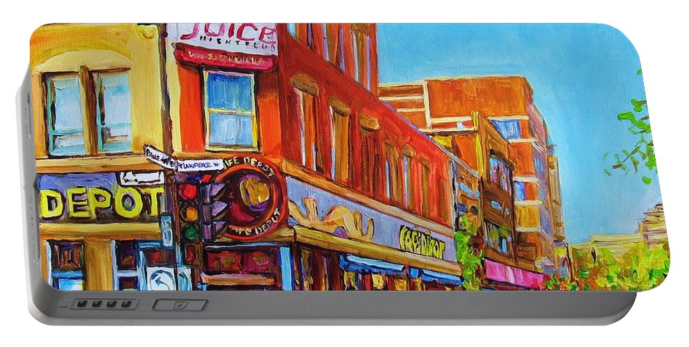 Cityscape Portable Battery Charger featuring the painting Coffee Depot Cafe And Terrace by Carole Spandau