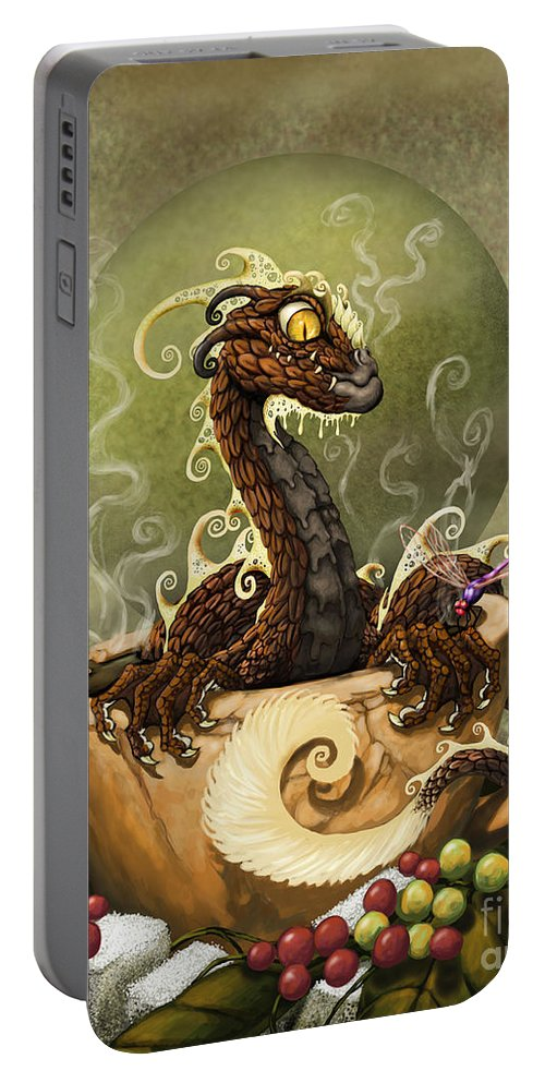 Dragon Portable Battery Charger featuring the digital art Coffee Dragon by Stanley Morrison