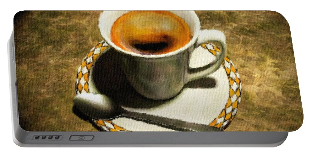 Cup Portable Battery Charger featuring the painting Coffee - Id 16217-152032-0430 by S Lurk