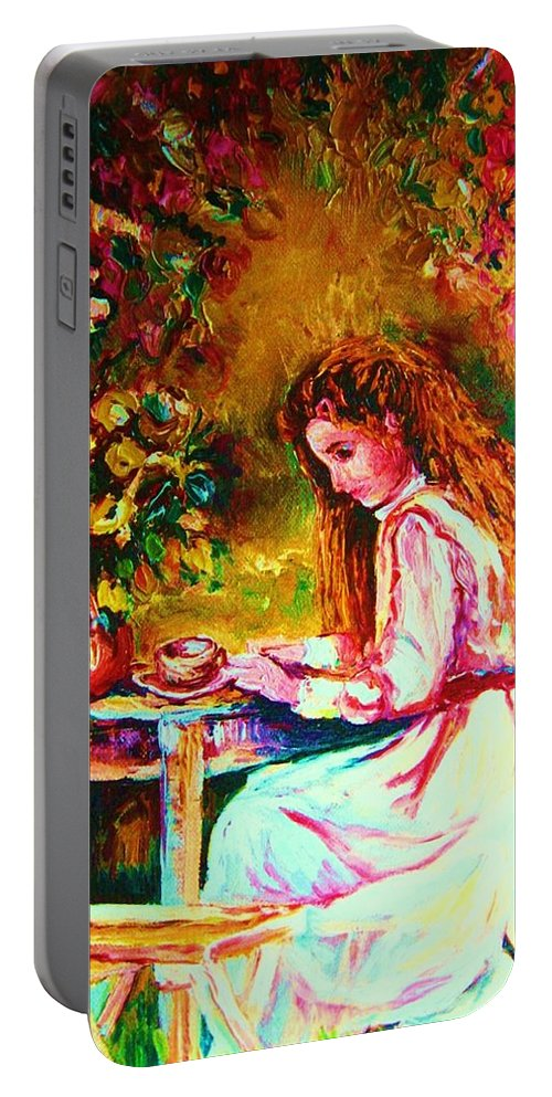 Impressionism Portable Battery Charger featuring the painting Coffee In The Garden by Carole Spandau