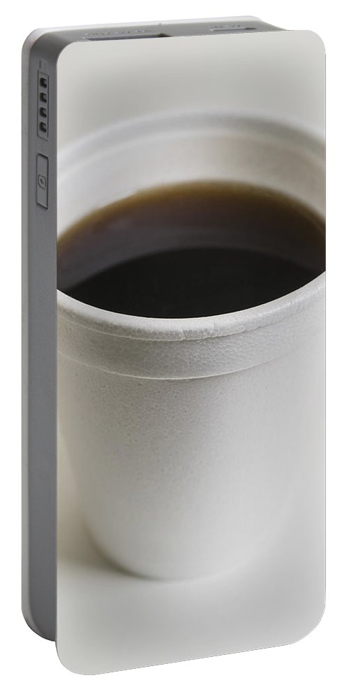 Coffee Portable Battery Charger featuring the photograph Coffee In Throwaway Cup by Donald Erickson