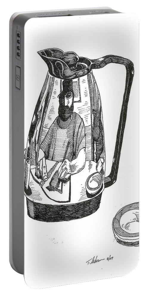 Pen And Ink Portable Battery Charger featuring the drawing Coffee Pot by Tobey Anderson