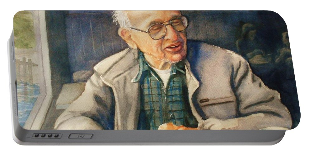 Coffee Portable Battery Charger featuring the painting Coffee With Andy by Marilyn Jacobson