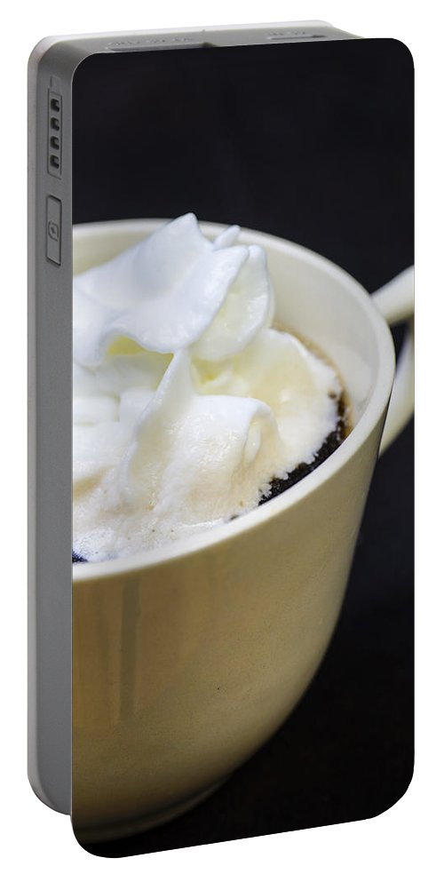 Coffee Portable Battery Charger featuring the photograph Coffee With Whipped Cream by Donald Erickson