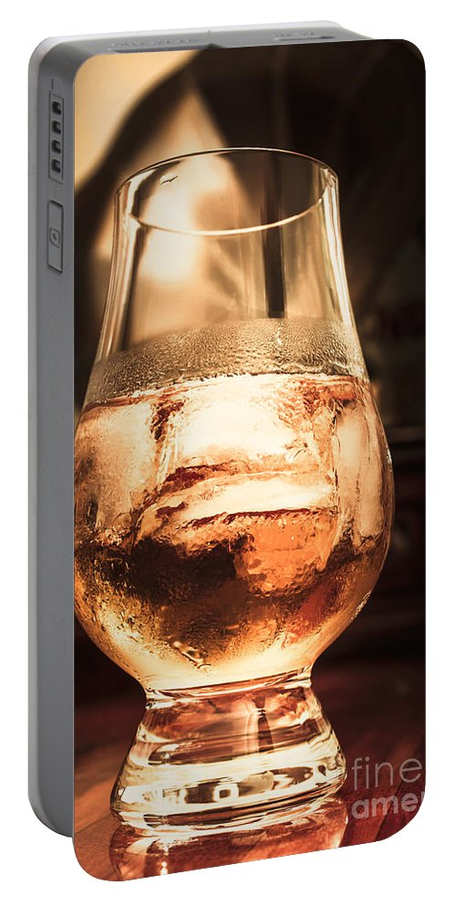 Glass Portable Battery Charger featuring the photograph Cognac Glass On Bar Counter by Jorgo Photography - Wall Art Gallery