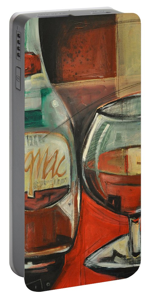 Alcohol Portable Battery Charger featuring the painting Cognac by Tim Nyberg