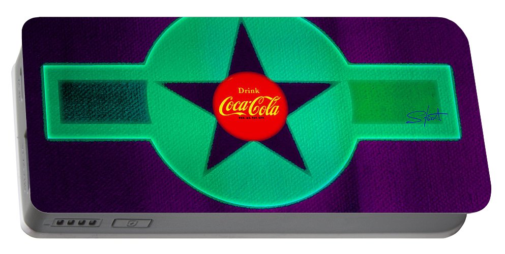 Label Portable Battery Charger featuring the painting Coke N Lime by Charles Stuart