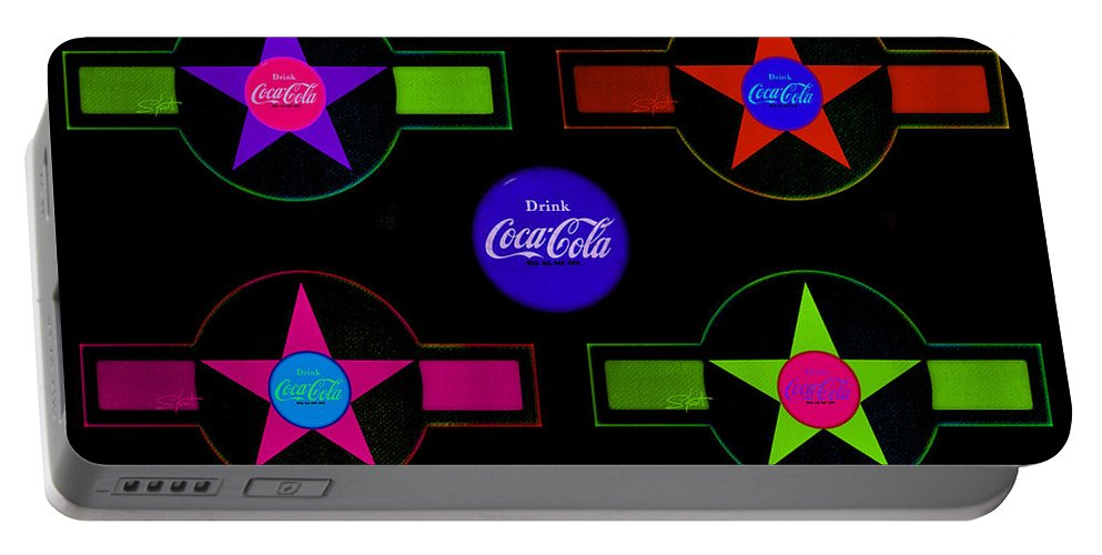 Label Portable Battery Charger featuring the painting Cola-candy by Charles Stuart