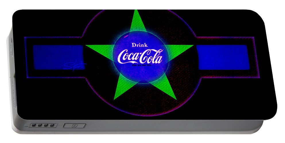 Label Portable Battery Charger featuring the painting Cola N Lime II by Charles Stuart