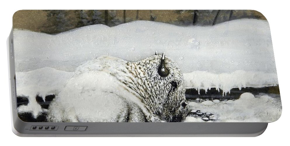 Animals Portable Battery Charger featuring the painting Cold And Tired by Stan White