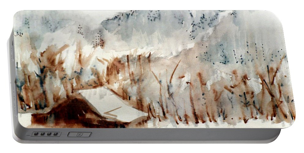 Cold Cove Portable Battery Charger featuring the mixed media Cold Cove by Seth Weaver