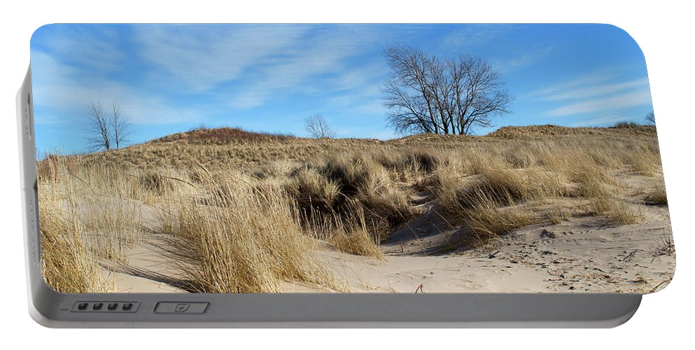 Dune Portable Battery Charger featuring the photograph Cold Dune Day by Linda Kerkau